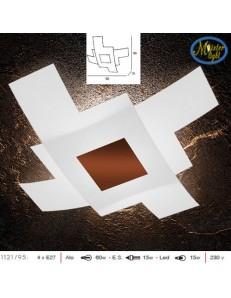 TOP LIGHT: Tetris color plafoniera vetro bianco serigrafato particolari corten 95cm in offerta