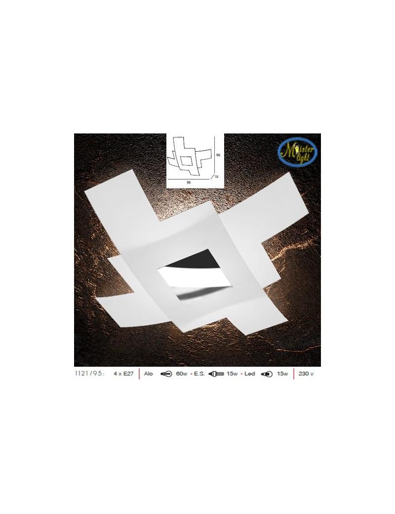 TOP LIGHT: Tetris color plafoniera 95cm vetro bianco serigrafato particolari cromo in offerta
