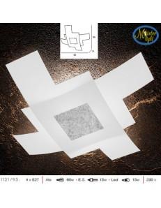 TOP LIGHT: Tetris color plafoniera vetro bianco serigrafato particolari argento 95cm in offerta