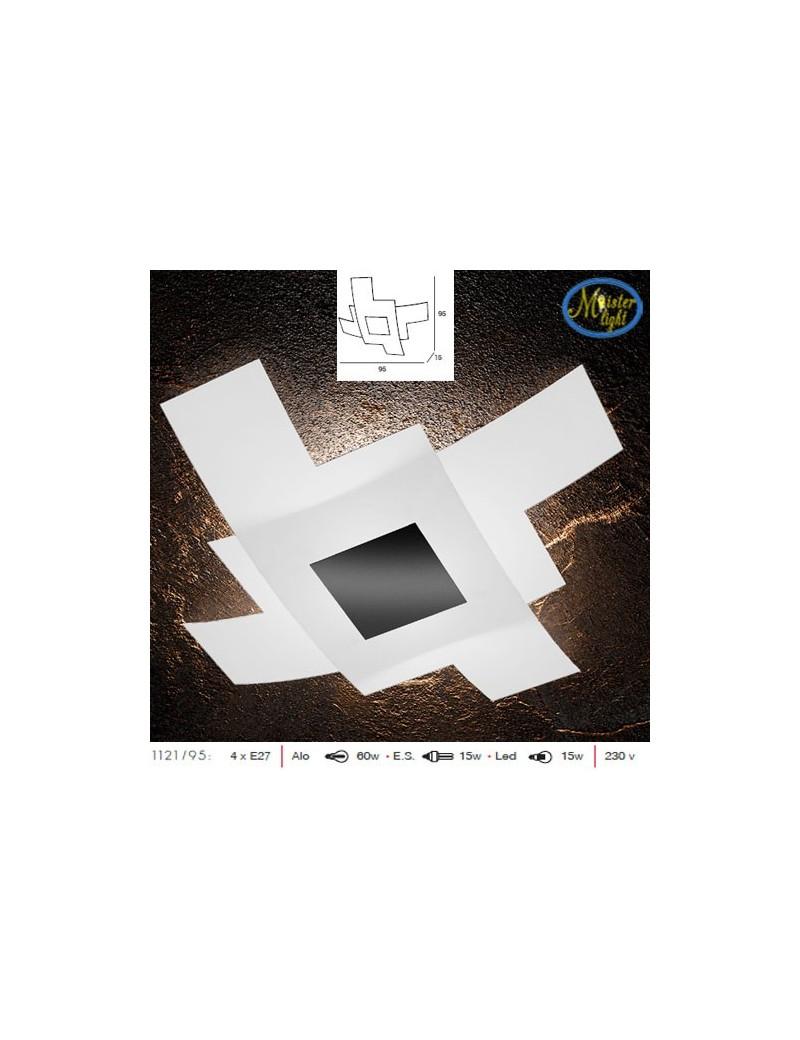 TOP LIGHT: Tetris color plafoniera vetro bianco serigrafato particolari nero 95cm in offerta