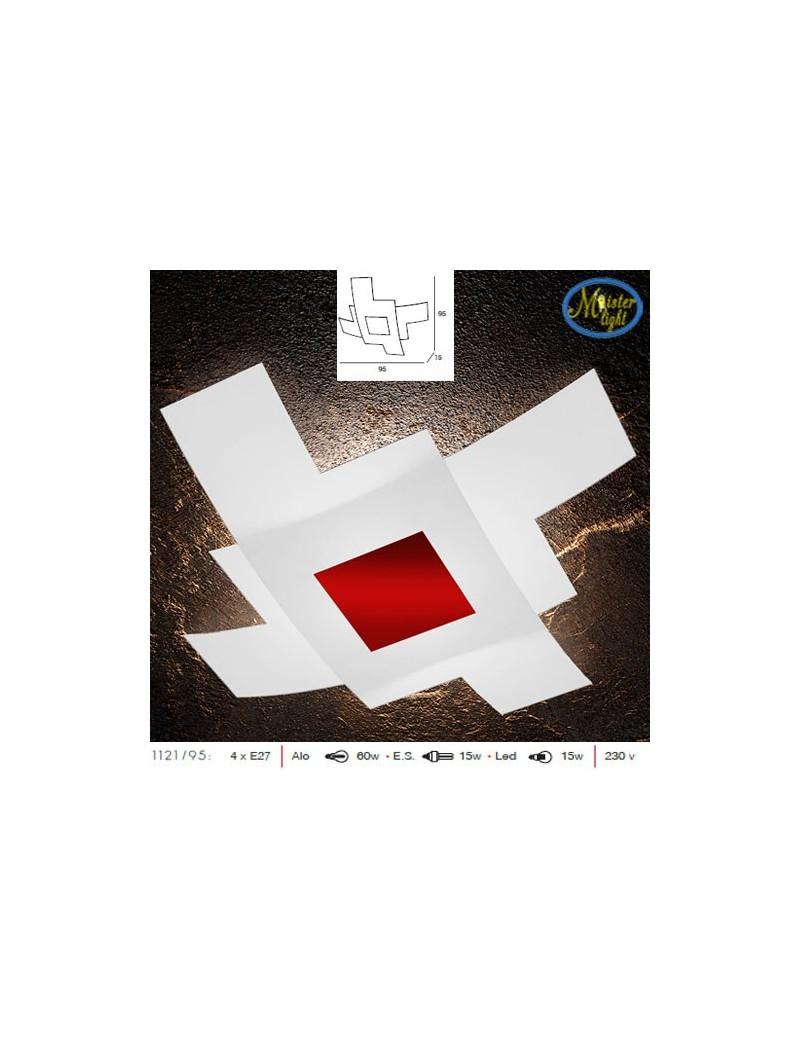 TOP LIGHT: Tetris color plafoniera vetro bianco serigrafato particolari rosso 95cm in offerta