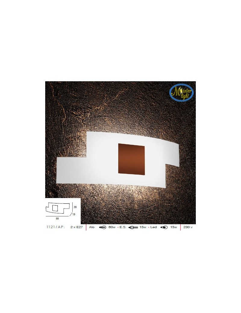 TOP LIGHT: Tetris color applique vetro serigrafato bianco decoro centrale corten 57cm in offerta