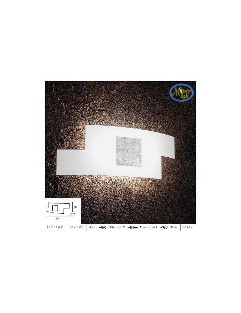 TOP LIGHT: Tetris color applique vetro serigrafato bianco decoro centrale foglia argento 57cm in