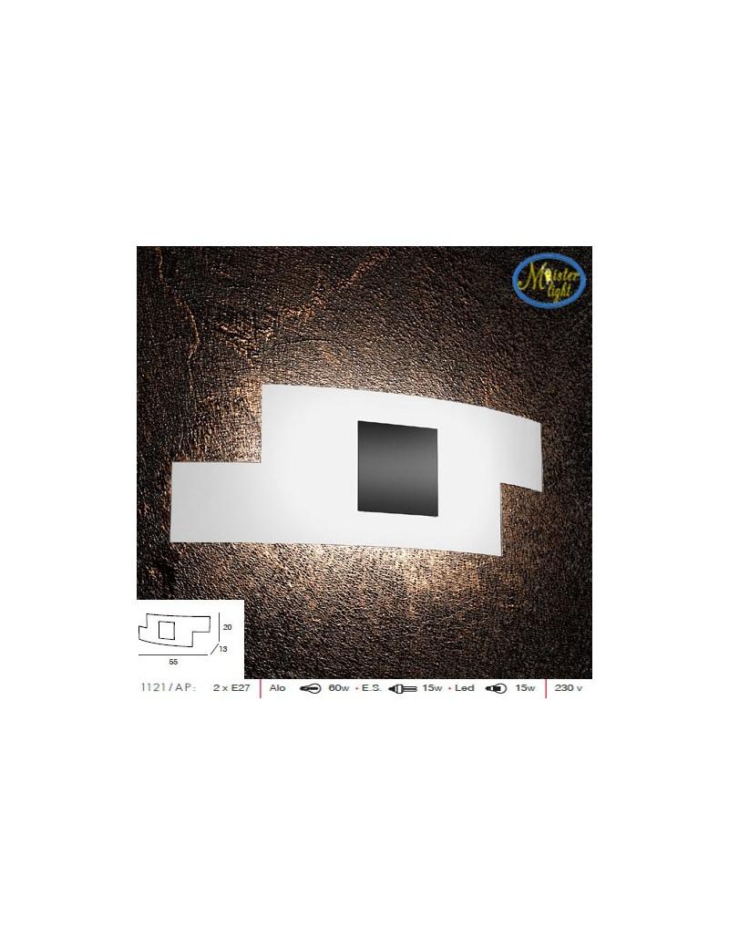 TOP LIGHT: Tetris color applique vetro serigrafato bianco decoro centrale nero 57cm in offerta