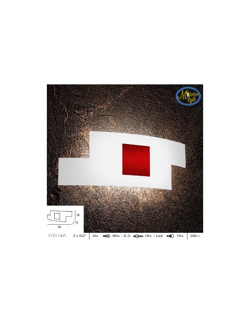 TOP LIGHT: Tetris color applique 57cm vetro serigrafato bianco decoro centrale rosso camera