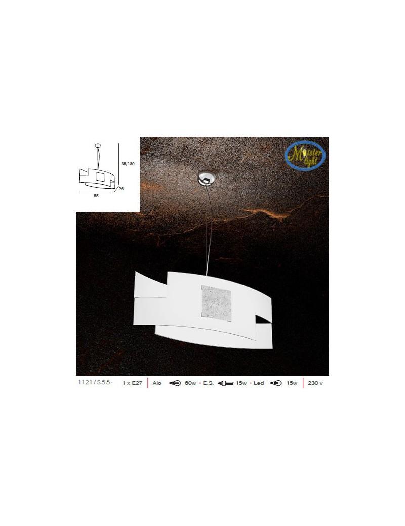 TOP LIGHT: Tetris color design sospensione vetro serigrafato decoro foglia argento in offerta