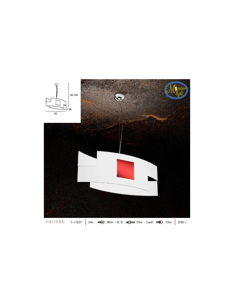 TOP LIGHT: Tetris color sospensione vetro serigrafato decoro rosso in offerta