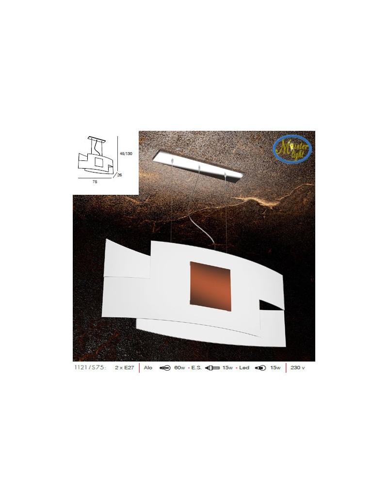 TOP LIGHT: Tetris color camera soggiorno vetro serigrafato bianco con decoro corten centrale in