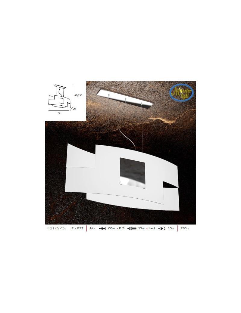 TOP LIGHT: Tetris color camera soggiorno vetro serigrafato bianco con decoro cromo centrale in
