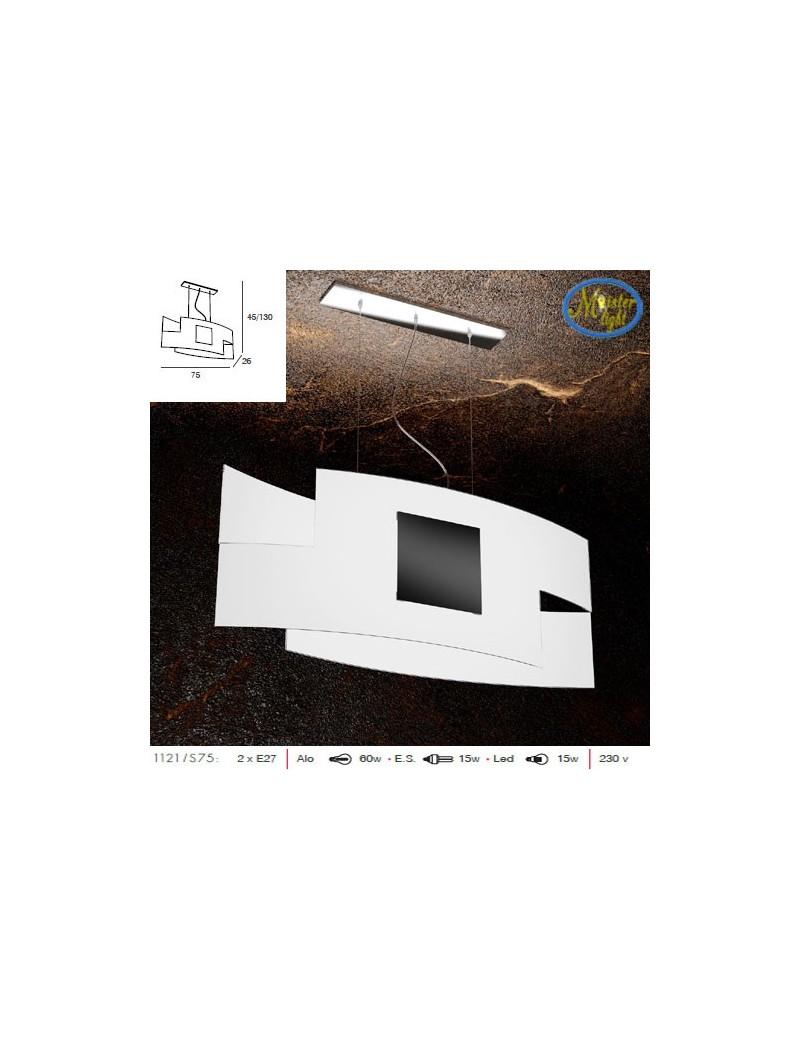 TOP LIGHT: Tetris color camera soggiorno vetro serigrafato bianco con decoro nero centrale in
