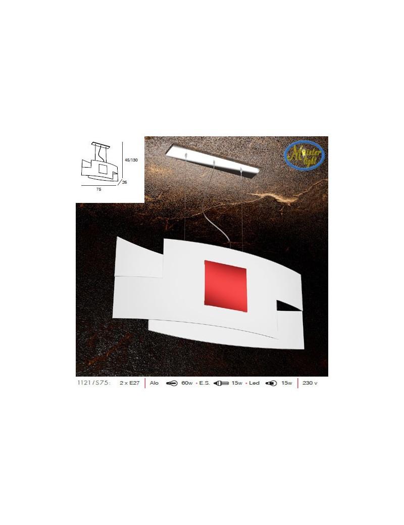 TOP LIGHT: Tetris color sospensione vetro serigrafato bianco con decoro rosso centrale in offerta