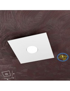 Area plafoniera quadrata design moderno metallo bianca grigio o sabbia 25cm