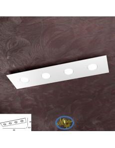 Area plafoniera metallo bianca grigio o sabbia design moderno rettangolare 80x20cm