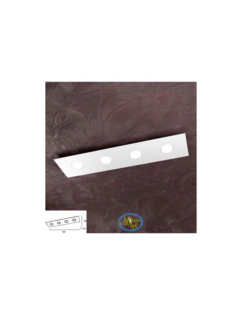 TOP LIGHT: Area plafoniera metallo bianca design moderno rettangolare 80x20cm in offerta