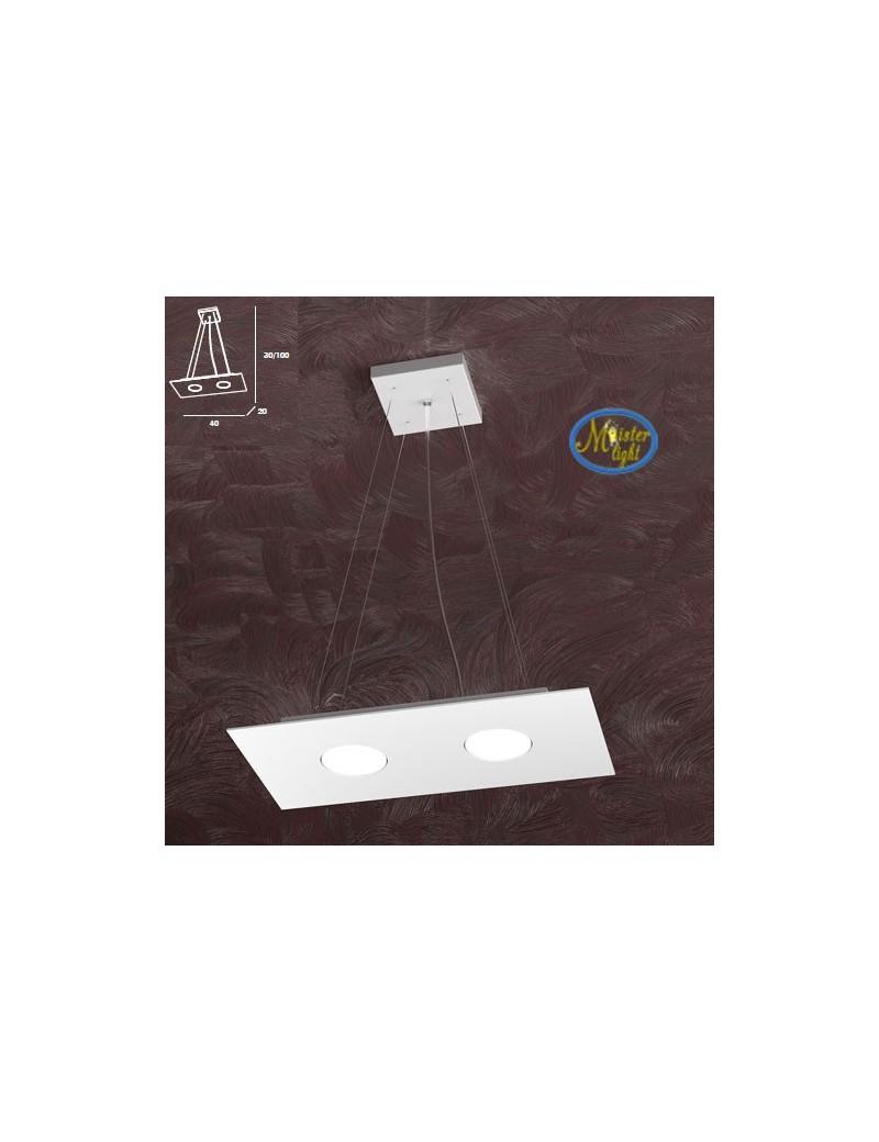 TOP LIGHT: Area sospensione rettangolare in metallo bianco 40x20cm in offerta