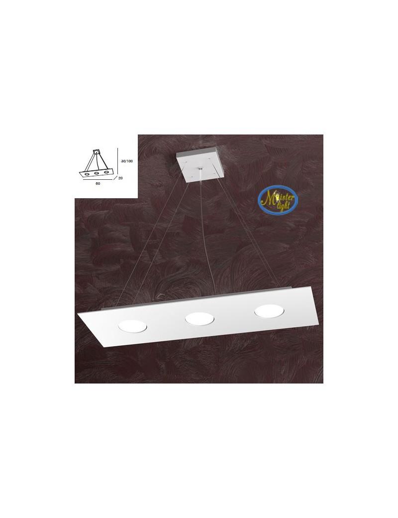 TOP LIGHT: Area sospensione rettangolare retroilluminata in metallo bianco 60x20cm in offerta