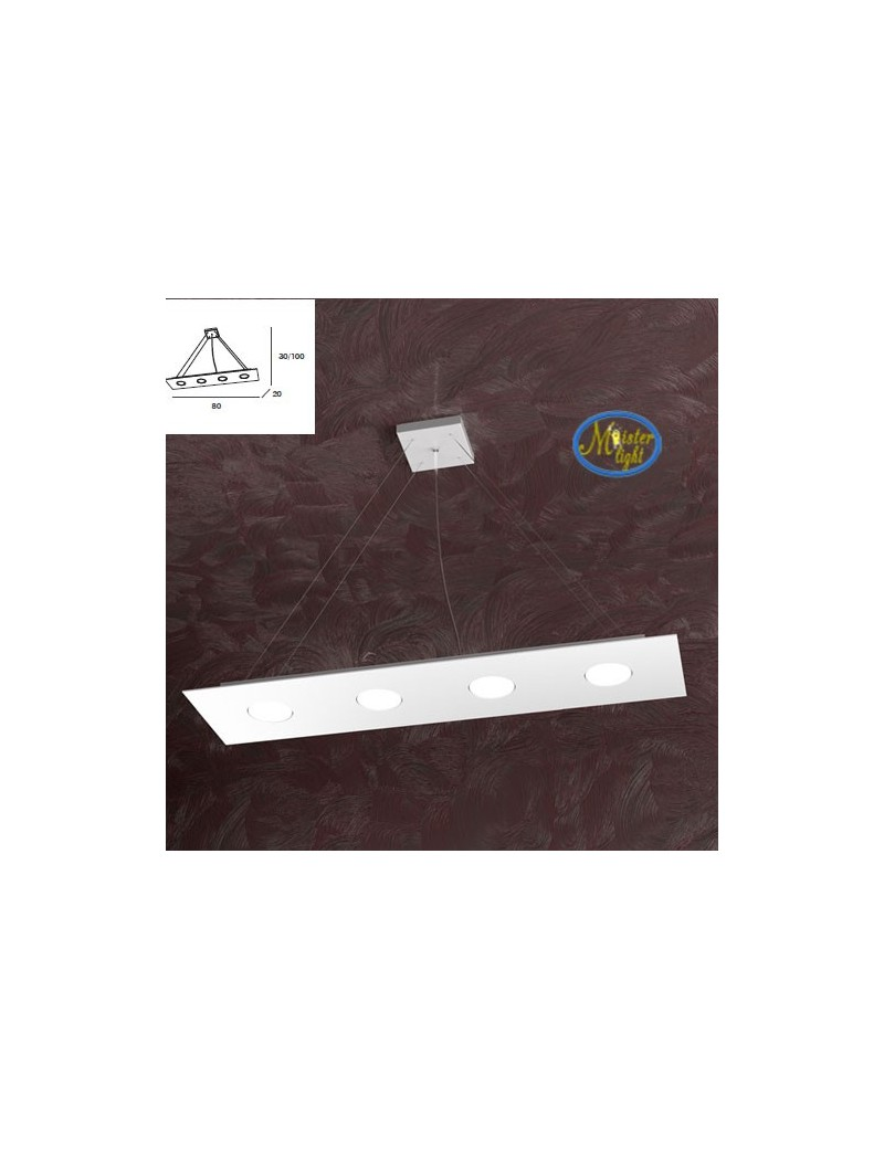 TOP LIGHT: Area sospensione in metallo rettangolare bianco 80x20cm in offerta