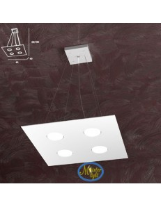 TOP LIGHT: Area sospensione in metallo + 2 luci design bianco quadrata 40x40cm in offerta