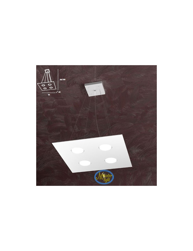 TOP LIGHT: Area sospensione in metallo + 2 luci design bianco quadrata 40x40cm in offerta