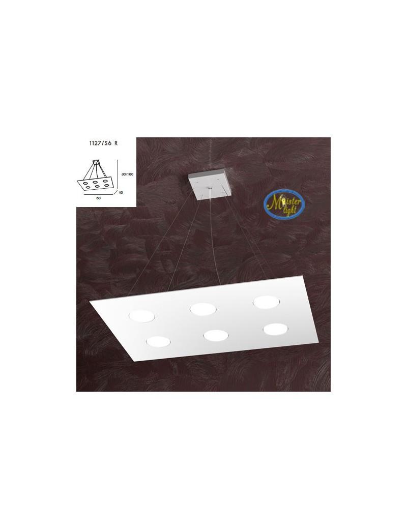 TOP LIGHT: Area sospensione in metallo design bianco rettangolare 60x40cm in offerta