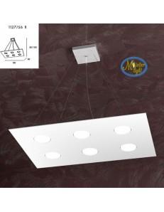TOP LIGHT: Area sospensione in metallo rettangolare + 2 luci bianco 60x40cm in offerta