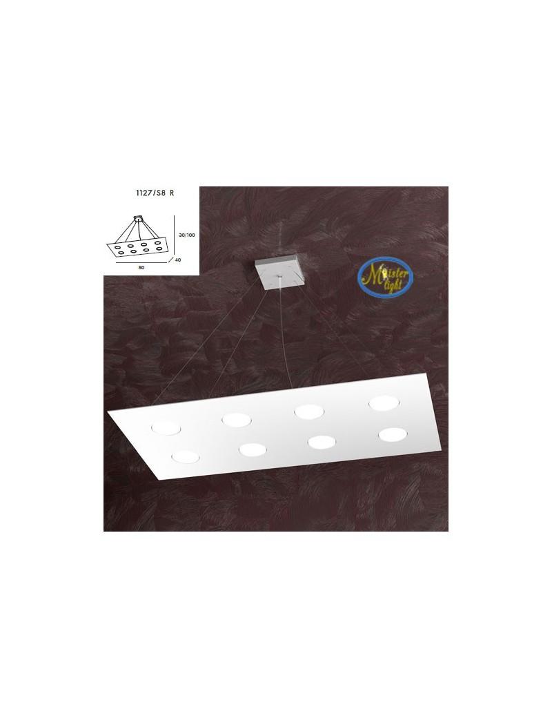 TOP LIGHT: Area sospensione + 3 luci in metallo design bianco rettangolare 80x40cm in offerta