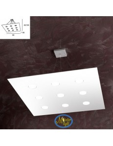 TOP LIGHT: Area sospensione in metallo design bianco quadrata 80x80cm in offerta