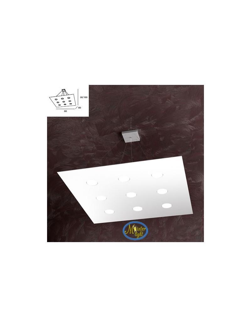 TOP LIGHT: Area sospensione in metallo quadrata + 3 luci bianco 80x80cm in offerta