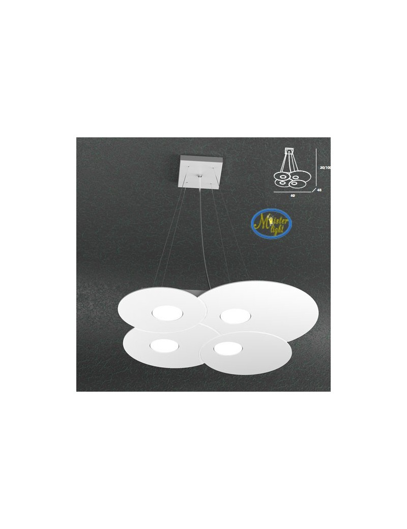 TOP LIGHT: Cloud sospensione design irregolare + 2 luci bianco 49x48cm in offerta