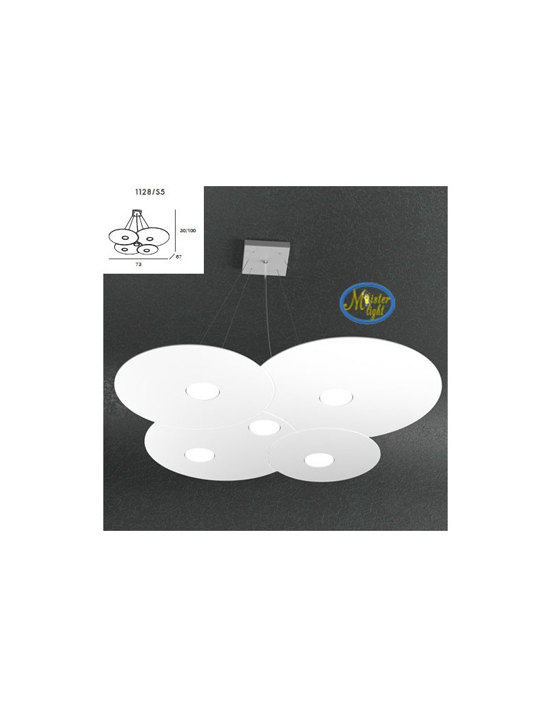 TOP LIGHT: Cloud sospensione + 2 luci design irregolare bianco 73x67cm in offerta