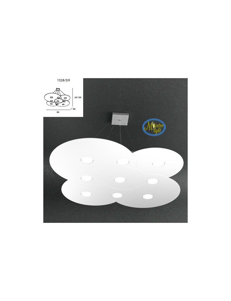 TOP LIGHT: Cloud sospensione bianco design irregolare 89x86cm + 4 luci extra in offerta