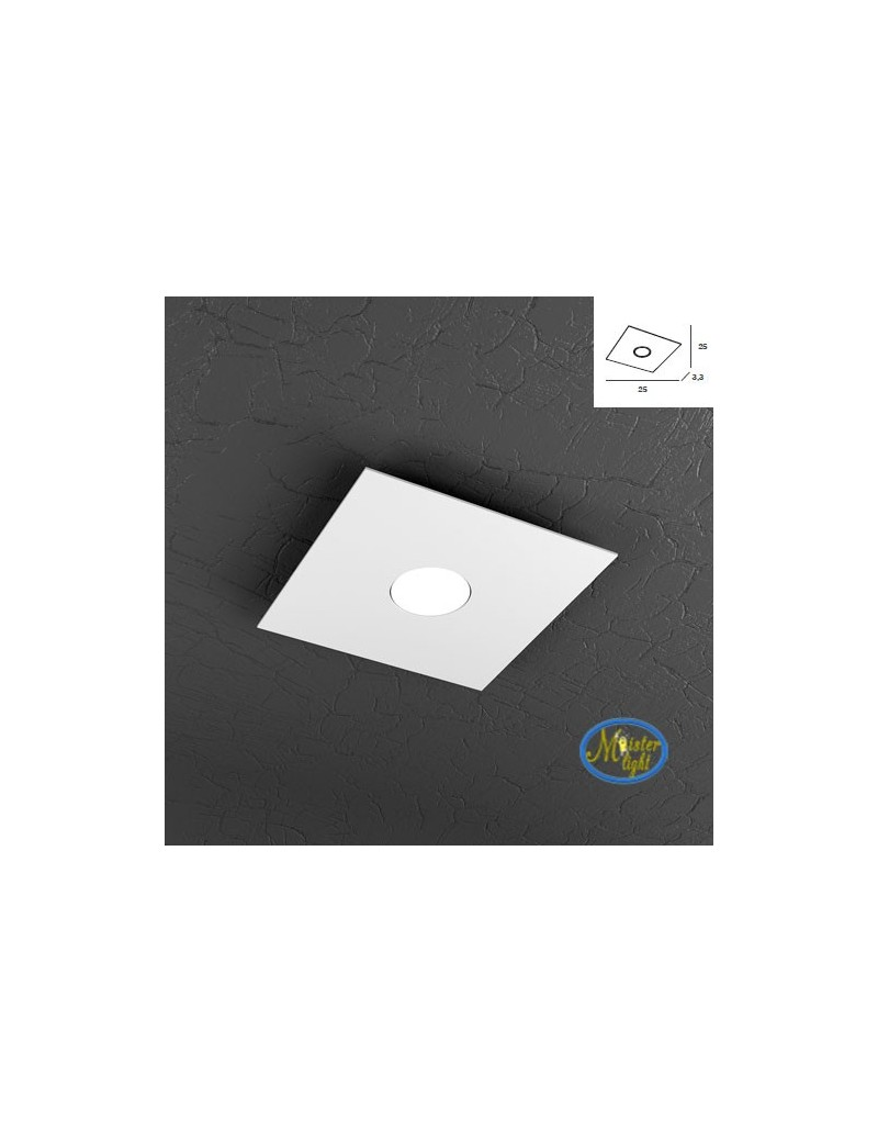 TOP LIGHT: Plate applique plafoniera quadrata in metallo design moderno in offerta