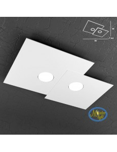 TOP LIGHT: Plate applique quadrati in metallo sfalsati bianco 50x35cm in offerta