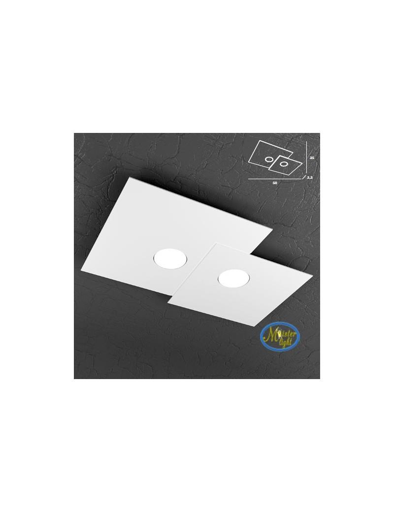 TOP LIGHT: Plate applique quadrati in metallo sfalsati bianco 50x35cm in offerta