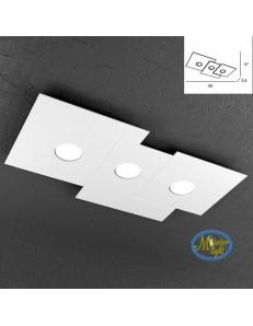 Plate applique quadrati in metallo sfalsati bianco 65x37cm