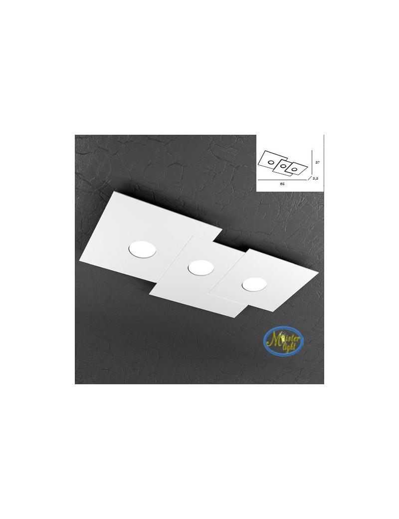 TOP LIGHT: Plate applique quadrati in metallo sfalsati bianco 65x37cm in offerta
