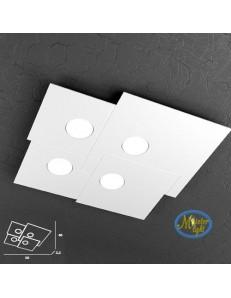 Plate applique plafoniera quadrati incastonati in metallo 50x46cm
