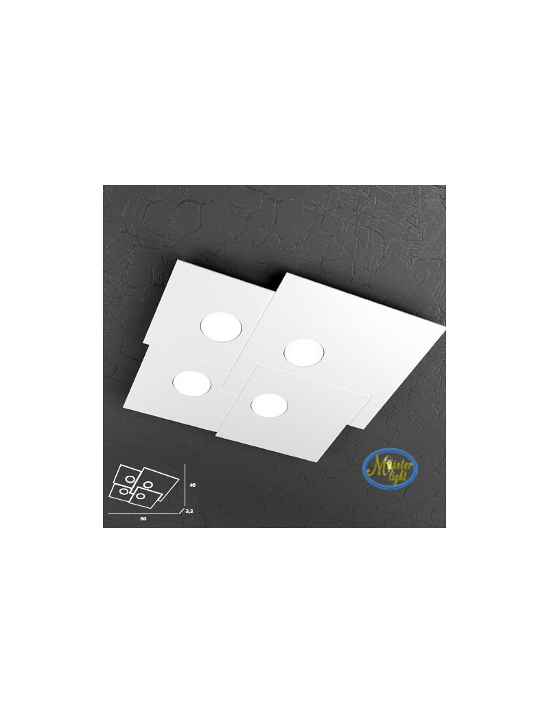 TOP LIGHT: Plate applique plafoniera quadrati incastonati in metallo 50x46cm in offerta