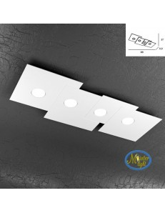 TOP LIGHT: Plate applique quadrati in metallo sfalsati bianco 86x37cm in offerta