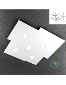 TOP LIGHT: Plate applique plafoniera quadrati incastonati in metallo 73x67cm in offerta