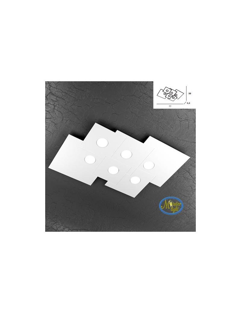 TOP LIGHT: Plate plafoniera quadrati in metallo sfalsati bianco 77x59cm in offerta