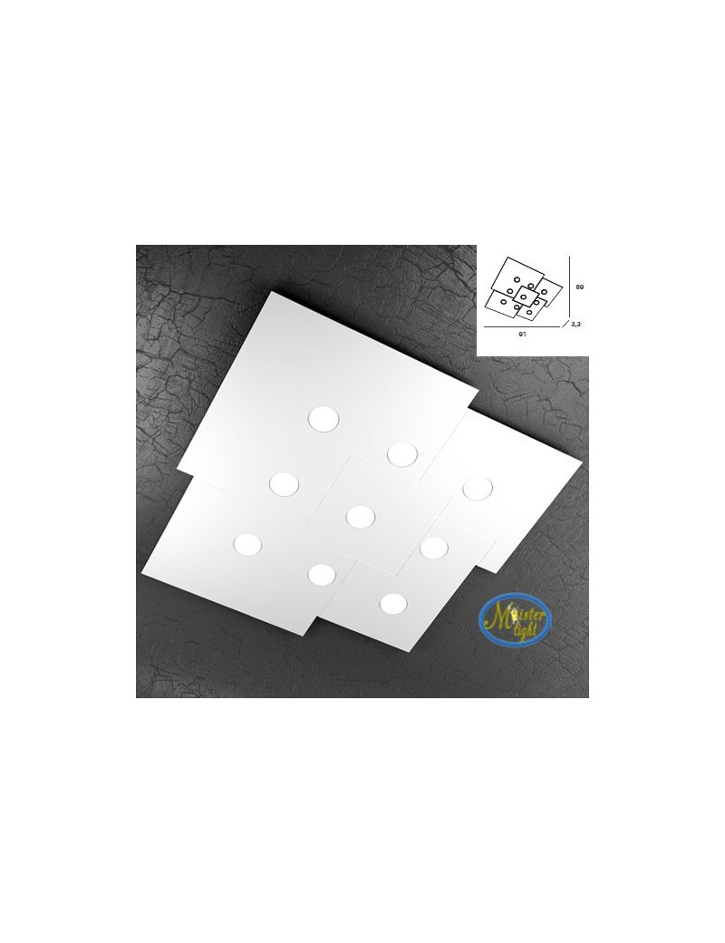 TOP LIGHT: Plate applique plafoniera quadrati incastonati in metallo 91x89cm in offerta