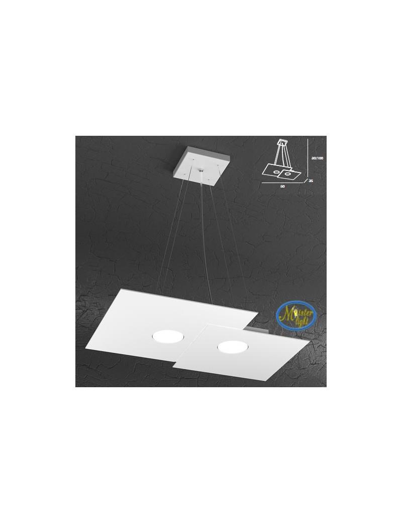 TOP LIGHT: Plate sospensione quadrati in metallo sfalsati + 1 luce bianco 50x35cm in offerta