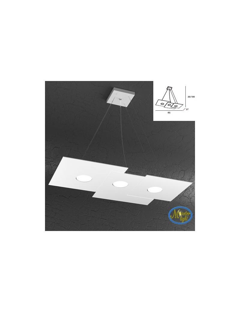 TOP LIGHT: Plate sospensione quadrati in metallo sfalsati bianco + 2 luci 65x37cm in offerta