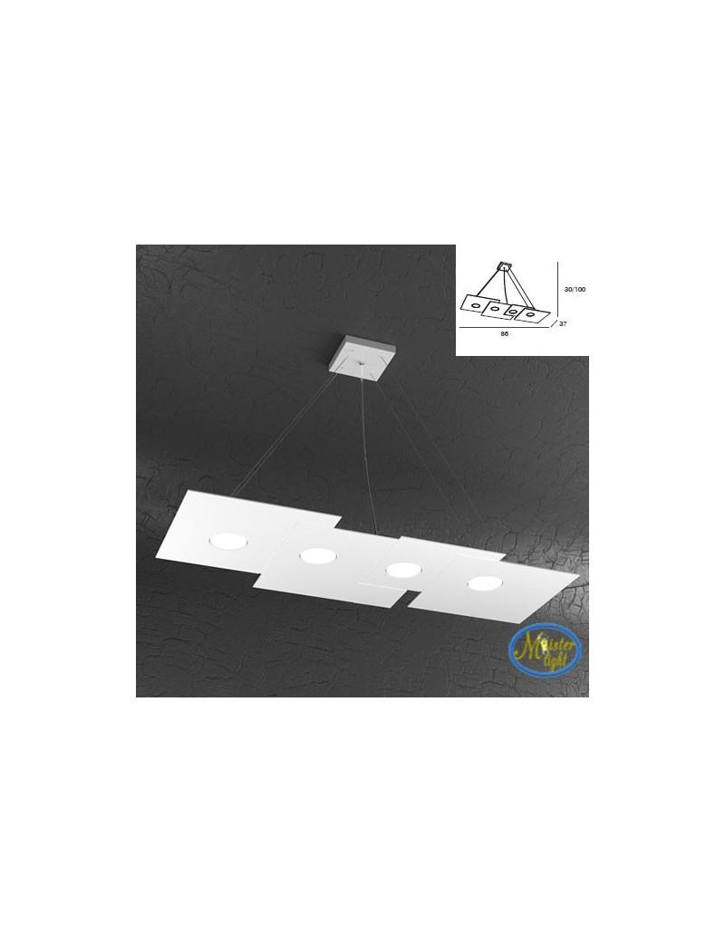 TOP LIGHT: Plate sospensione quadrati in metallo sfalsati bianco + 3 luci soffitto 86x37cm in