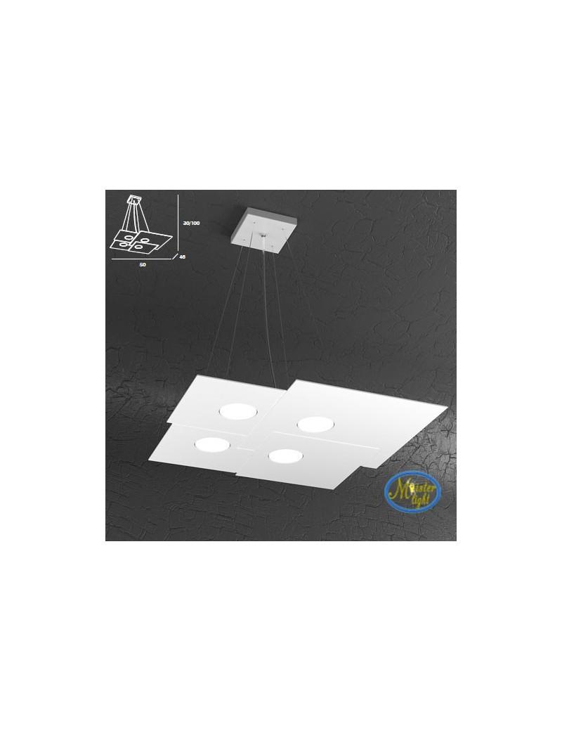 TOP LIGHT: Plate sospensione quadrati in metallo sfalsati bianco + 2 luci 50x46cm in offerta