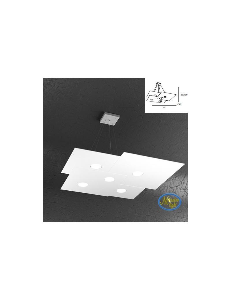 TOP LIGHT: Plate sospensione quadrati in metallo sfalsati bianco +2 luci 73x67cm in offerta