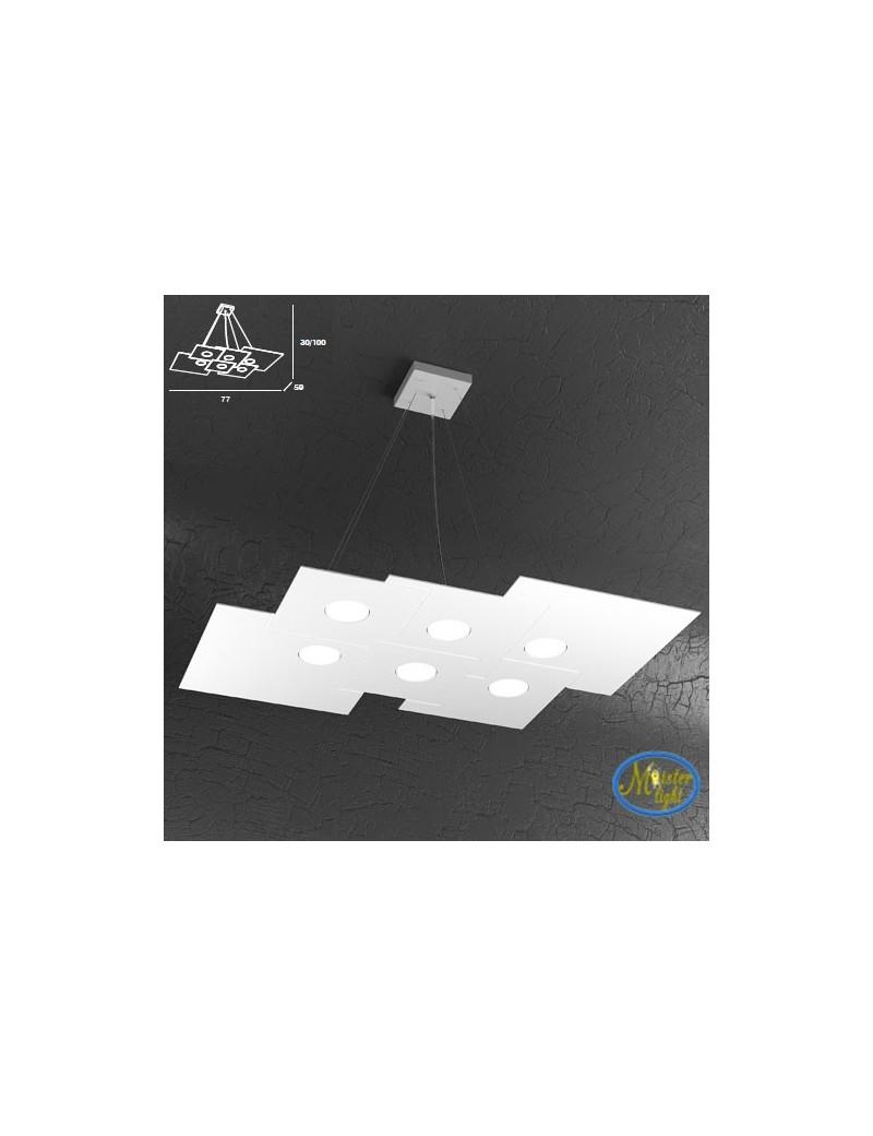 TOP LIGHT: Plate sospensione + 2 luci quadrati in metallo sfalsati bianco 77x59cm in offerta
