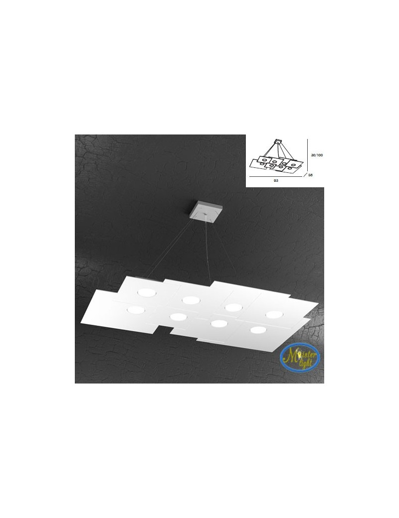 TOP LIGHT: Plate sospensione quadrati in metallo sfalsati bianco + 3 luci 96x56cm in offerta