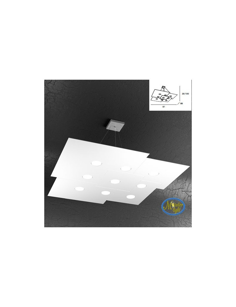 TOP LIGHT: Plate sospensione quadrati in metallo + 4luci sfalsati bianco 91x89cm in offerta